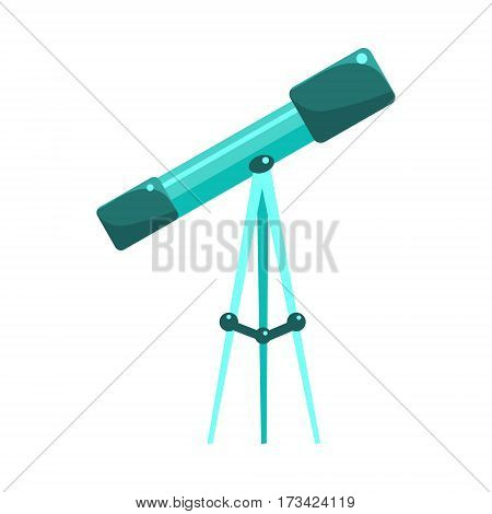 Kids Telescope For Astronomy Studies, Object From Baby Room, Happy Childhood Cute Illustration. Part Of Happy Childhood And Infancy Isolated Cartoon Items Series.
