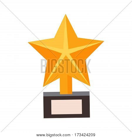 Golden Star Award, Cinema And Movie Theatre Related Object Cartoon Colorful Vector Illustration. Isolated Object Cinematography Entertainment Attribute In Bright Color.