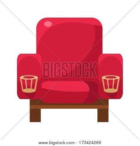 Red Armchair With Cup Holders, Cinema And Movie Theatre Related Object Cartoon Colorful Vector Illustration. Isolated Object Cinematography Entertainment Attribute In Bright Color.