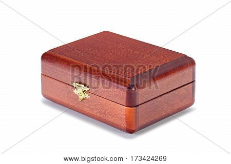 Wooden varnished boxes isolated on pure white background with clipped path