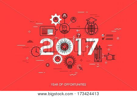 Infographic concept 2017 year of opportunities. New trends and prospects in international education, student exchange programs, online and distance learning. Vector illustration in thin line style.