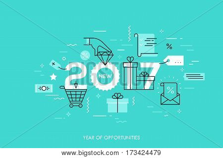 Infographic concept 2017 year of opportunities. New trends and prospects in internet shopping, online sales and discounts, buying luxury goods. Vector illustration in thin line style for banner.