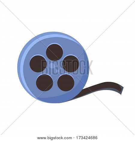 Film Reel, Cinema And Movie Theatre Related Object Cartoon Colorful Vector Illustration. Isolated Object Cinematography Entertainment Attribute In Bright Color.