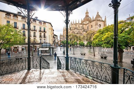 Plaza Mayor With Catedral De Santa Maria De Segovia In The Background In The Historic City Of Segovi