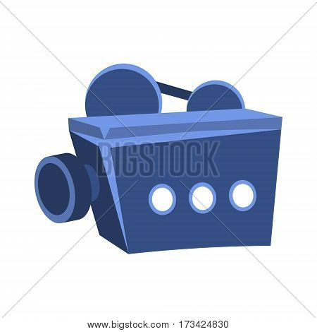 Movies Projector For Projecting On Screen, Cinema And Movie Theatre Related Object Cartoon Colorful Vector Illustration. Isolated Object Cinematography Entertainment Attribute In Bright Color.