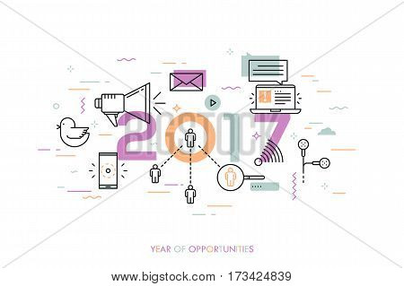 Infographic banner, 2017 - year of opportunities. Trends, predictions and expectations in social media technologies, networks, mobile apps, internet messengers. Vector illustration in thin line style.