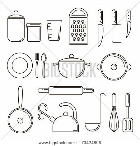 Set of kitchen utensils isolated line art. Elements for kitchen design. Cooking equipment