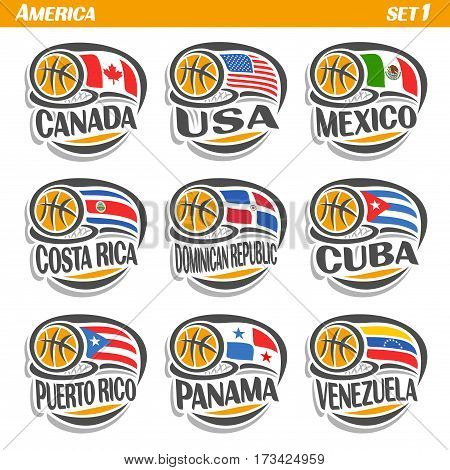 Vector set Flags of American Countries with Basketball Ball: Logo national basketball Teams, Sport group countries of America, icons american flag fiba team with orange ball, logo sport flags america.
