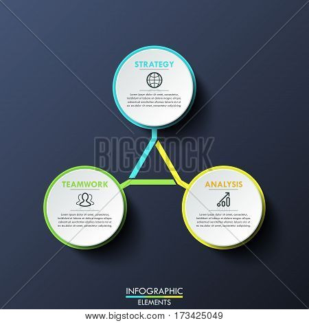 Infographic design template, circular diagram with 3 multicolored lettered elements connected with center. Features of successful business growth. Vector illustration for corporate presentation, ad.