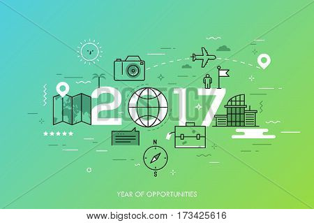 Infographic banner, 2017 - year of opportunities. New trends and prospects in tourism, trips, touristic services and travel applications. Plans and predictions. Vector illustration in thin line style.