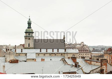 Old houses and towers of the historic city of Lvov Ukraine view on roofs