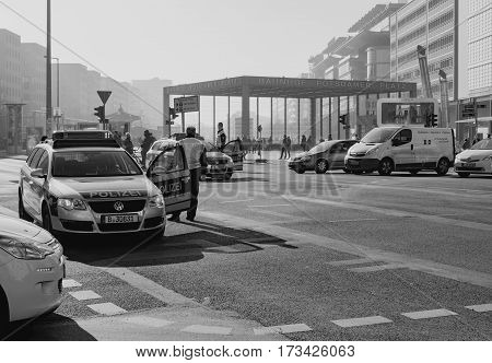 BERLIN GERMANY - FEBRUARY 14 2017: Police Stopping The Traffic At Potsdamer Platz Berlin black and white