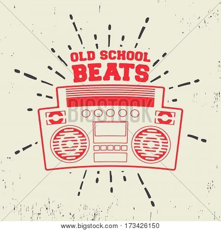 T-shirt print design. Old school beats vintage stamp. Printing and badge applique label t-shirts jeans casual wear. Vector illustration.