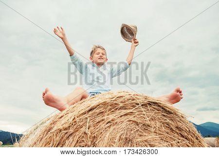 Happy boy sits over big rolling haystack