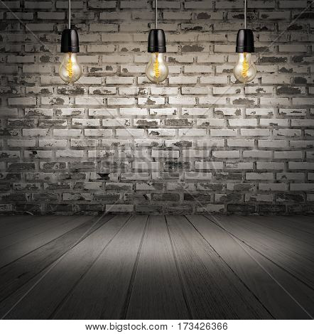 interior with white brick wall and wooden floor and classic Edison light bulb.