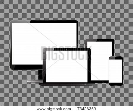 PC monitor smartphone laptop and computer tablet on transparent background. Set of electronic devices with blank screens. Vector illustration.