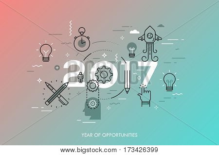 Infographic concept, 2017 - year of opportunities. New trends and predictions in startups, idea generation, innovations, modern thinking. Plans and prospects. Vector illustration in thin line style.