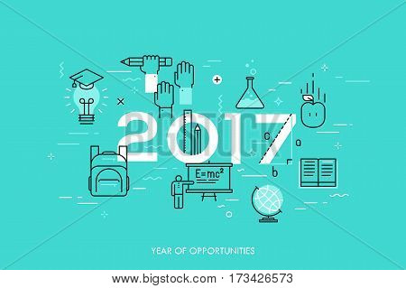 Infographic concept, 2017 - year of opportunities. New trends, prospects and predictions in science, scientific studies, schooling system and higher education. Vector illustration in thin line style.