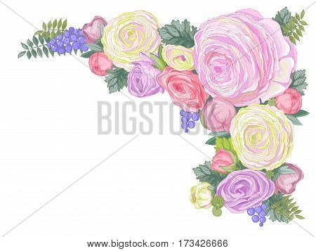 Vector gentle colored rectangular background with composition of pastel colored Ranunculus flowers