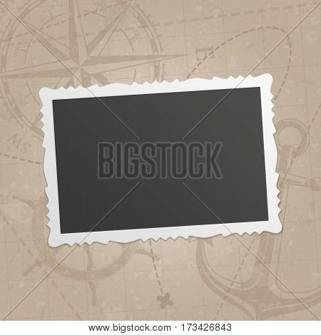 Retro photo frame isolated on vintage background old navigation map with wind rose, the steering wheel and anchor. Photos frames for your picture. Realistic design framework. Vector illustration.