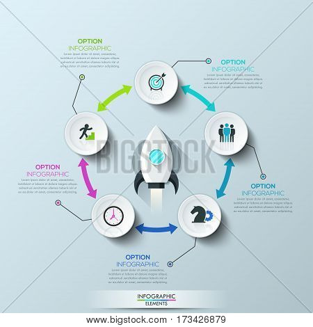 Infographic design layout, 5 circular elements connected by double-sided arrows and spacecraft taking off in center. Necessary conditions for startup launch. Vector illustration for website, report.