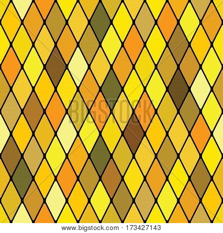 Harlequine golden (shining seamless polycolor venezian stained-glass pattern)