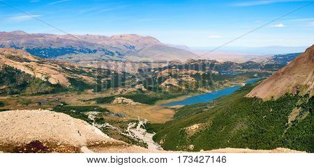 Panoramic View Of Beautiful Landscape In Patagonia, Argentina, South America