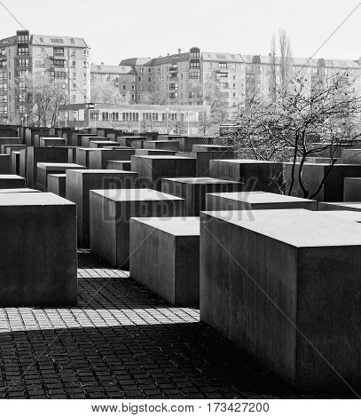 BERLIN GERMANY - FEBRUARY 14 2017: The Memorial to the Murdered Jews of Europe Berlin black and white