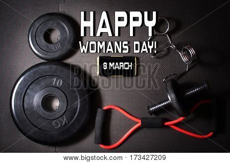dumbbell and  barbell, smartphone, Concept of 8 March, Valentine's Day, Women's Day, love