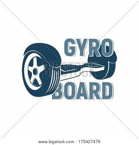Two-wheel electric hoverboard eco transporter vector Illustration. Gyro board logo