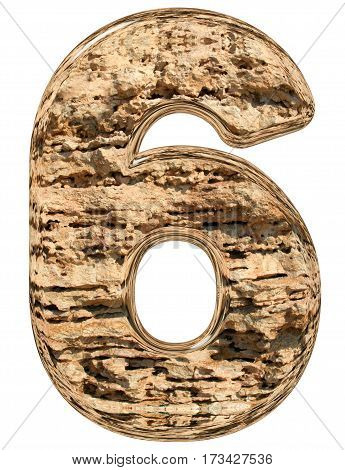 Numeral 6, Six, Isolated On White, Natural Limestone, 3D Illustration
