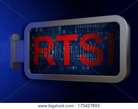 Stock market indexes concept: RTSI on advertising billboard background, 3D rendering