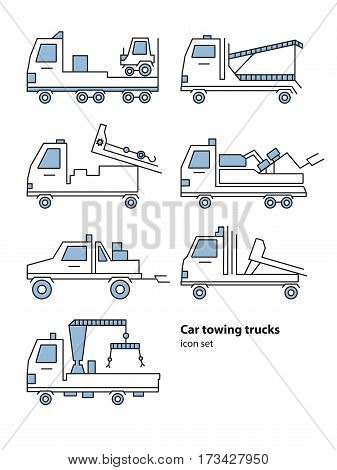 Car towing truck roadside assistance. Evacuators car set. Vector lineart illustration for icon, logo.