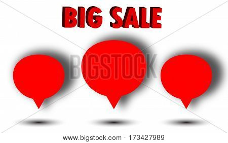 Big sale concept. Red color. Sticker and 3d words
