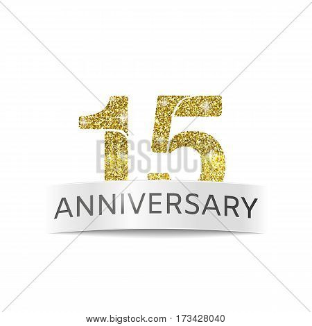 Isolated logo abstract Fifteenth anniversary vector illustration. Gold glitter logo. The number fifteen gold color