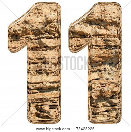 Numeral 11, Eleven, Isolated On White, Natural Limestone, 3D Illustration