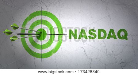 Success Stock market indexes concept: arrows hitting the center of target, Green NASDAQ on wall background, 3D rendering