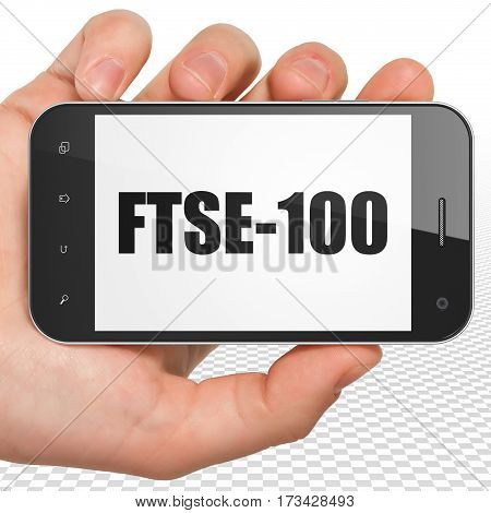 Stock market indexes concept: Hand Holding Smartphone with black text FTSE-100 on display, 3D rendering