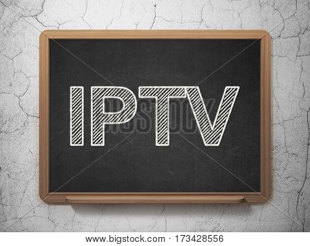 Web development concept: text IPTV on Black chalkboard on grunge wall background, 3D rendering
