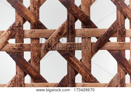 A macro photo of old wooden basketwork.