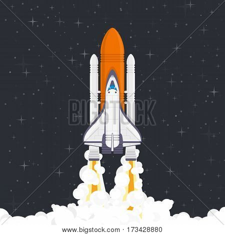 Shuttle launch up into space. Space rocket or spaceship start. Concept of travel to the stars. Creative image of business project successful start. Vector illustration in flat style. EPS 10.
