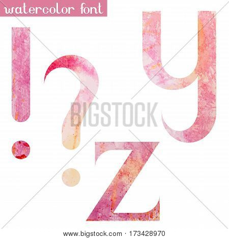 Colorful pink spring handmade watercolor paint alphabet letters Y, Z and punctuation marks - vector Illustration