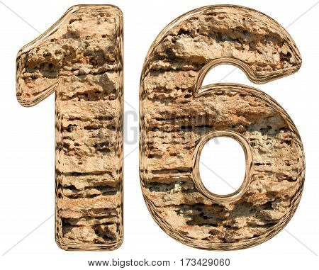 Numeral 16, Sixteen, Isolated On White, Natural Limestone, 3D Illustration