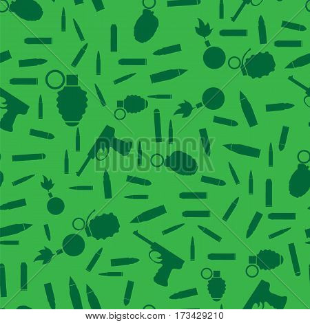 Weapon Silhouette Seamless Pattern on Green Background. Military Guns, Bullets, Ammunition, Grenades, Bombs Texture