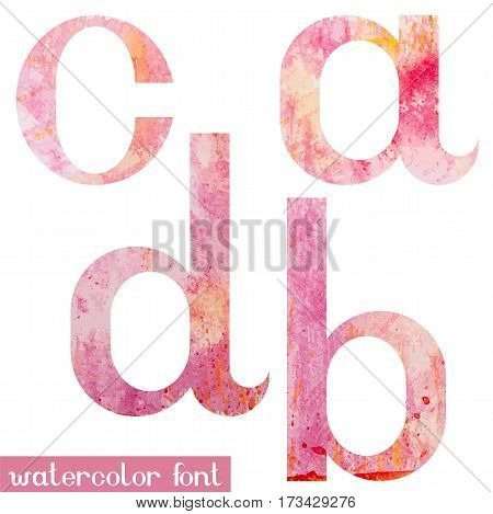 Colorful pink spring handmade watercolor paint alphabet letters A, B, C, D - vector Illustration