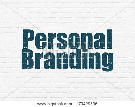 Advertising concept: Painted blue text Personal Branding on White Brick wall background