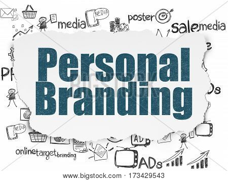 Marketing concept: Painted blue text Personal Branding on Torn Paper background with  Hand Drawn Marketing Icons