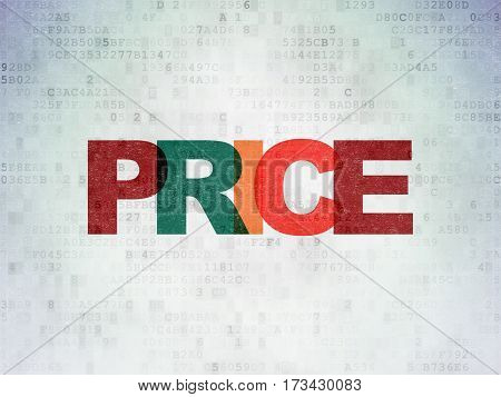 Advertising concept: Painted multicolor text Price on Digital Data Paper background