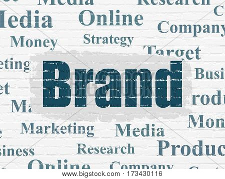 Advertising concept: Painted blue text Brand on White Brick wall background with  Tag Cloud