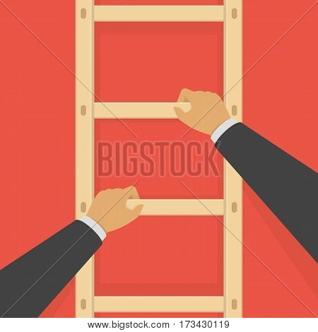 Businessman climbing the ladder. Business concept a ladder corporate of success, career, dreams or success. Vector illustration. EPS 10.